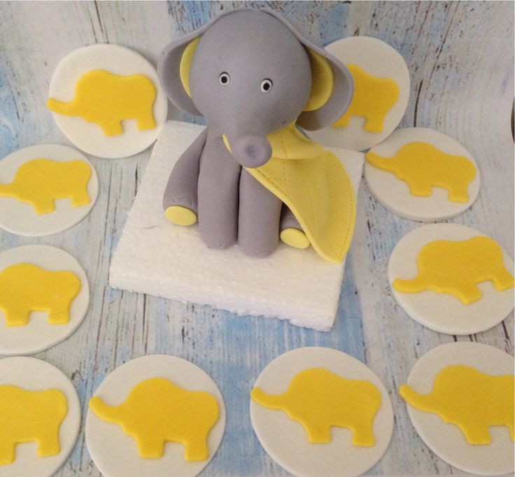 Baby Elephant cake topper with 12 cupcake toppers by SerasCakeArt on Etsy
