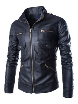 Ericdress Lapel Solid Color Multi-Zipper Férfi kabát
