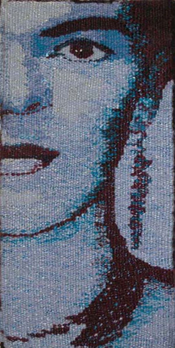 Blue Frida I & II represent my Blue Period, woven in the timebefore and aftermy mother's death. Wool, silk and cotton weft, seine twine warp 11.75 x 5.75 inches sett 10 ends per inch…