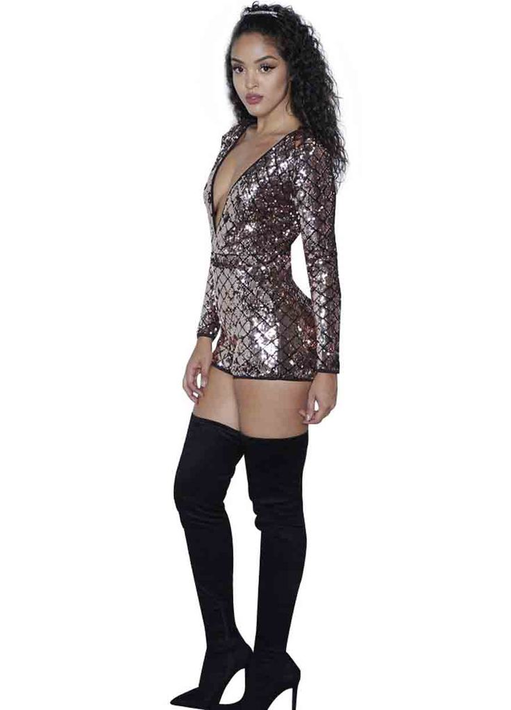 Plunging V Neck Long Sleeve Sequins Club Dress_Club Dress_Clubwear Clothing_Sexy Lingeire | Cheap Plus Size Lingerie At Wholesale Price | Feelovely.com