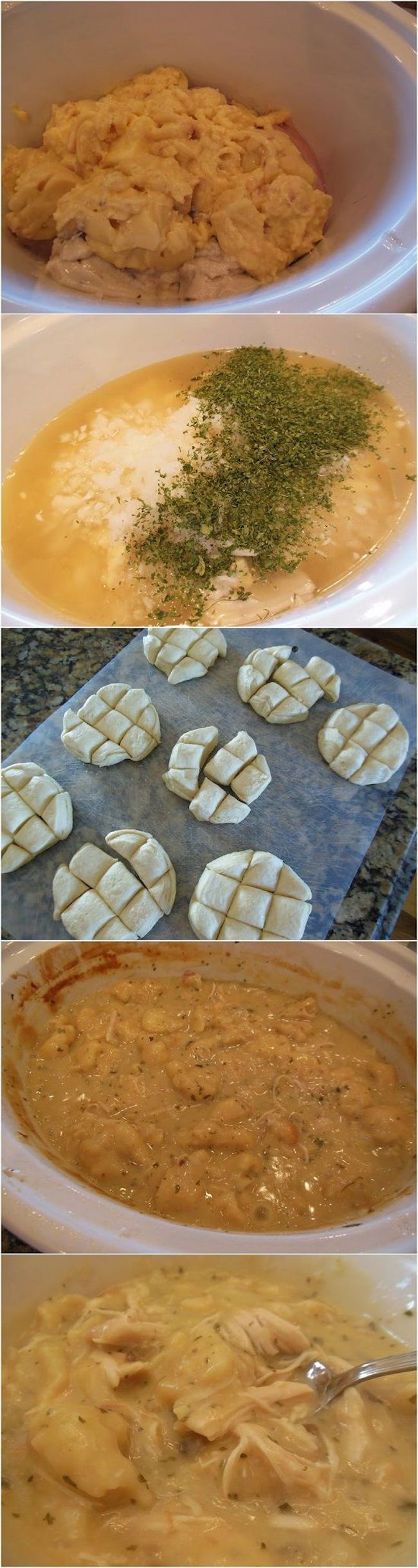 Crockpot Chicken & Dumplings -- Ingredients: 2 chicken breasts - 2 Tbsp butter - 2 cans cream of chicken soup - 14.5 oz chicken broth - 2 Tbsp dried diced onion - 1 Tbsp dried parsley - 4 Grands flaky refrigerator biscuits -- Combine all ingredients except biscuits. Cover and cook on High 4-5 hrs -- After chicken is cooked, shred and return to soup -- Cut each biscuit into 9 pieces, stir into soup. Cover and cook 1hr. Stir, and serve
