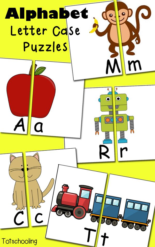 Free Alphabet Letter Case Puzzles | Totschooling - Toddler and Preschool Educational Printable Activities