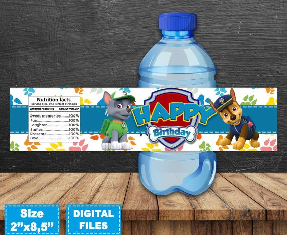 Paw Patrol Water Bottle Labels. The file is formatted to print,2 pages in size 8.5x11. Water Bottle Labels size 2 x 8.5. You will receive 10 different designs of labels (with different characters)  .......................................................................................................................  !!!!!!!!!!!!!!!!!!!!!!!!!!!!!!!!!!!!!!!!!!!!!!!!PLEASE NOTE!!!!!!!!!!!!!!!!!!!!!!!!!!!!!!!!!!!!!!!!!!!!!!!! To print at home! If you NOT are going to print product in the home…