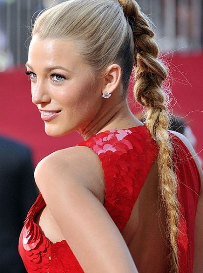 Blake Lively sports a high braid.