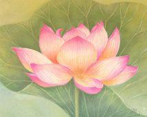 Pink Lotus Flower Watercolor Painting Art Print, Children Art, Nursery Decor, Nature.
