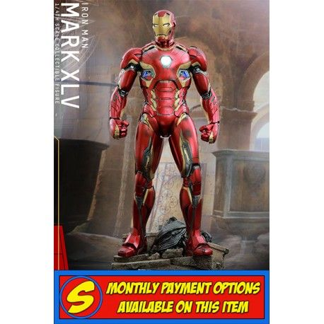 #HOTTOYS - #IRONMAN 4TH SCALE [50CM] MARK 45 FIGURE  The movie-accurate Mark XLV Quarter Scale Figure is highly detailed and meticulously crafted based on the image of the armor in the film. It features a sophisticatedly sculpted armored body, specially applied metallic red, gold and silver colored paint with weathering effects, great articulation with armor parts, LED light-up functions on various parts of armor, and a specially designed diorama base with an #Ultron Sentry (Prime) body!