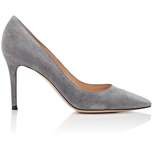 Gianvito Rossi Women's Gianvito Suede Pumps ($675) ❤ liked on Polyvore featuring shoes, pumps, grey, gray pumps, stiletto pumps, grey pumps, pointy toe pumps and suede shoes