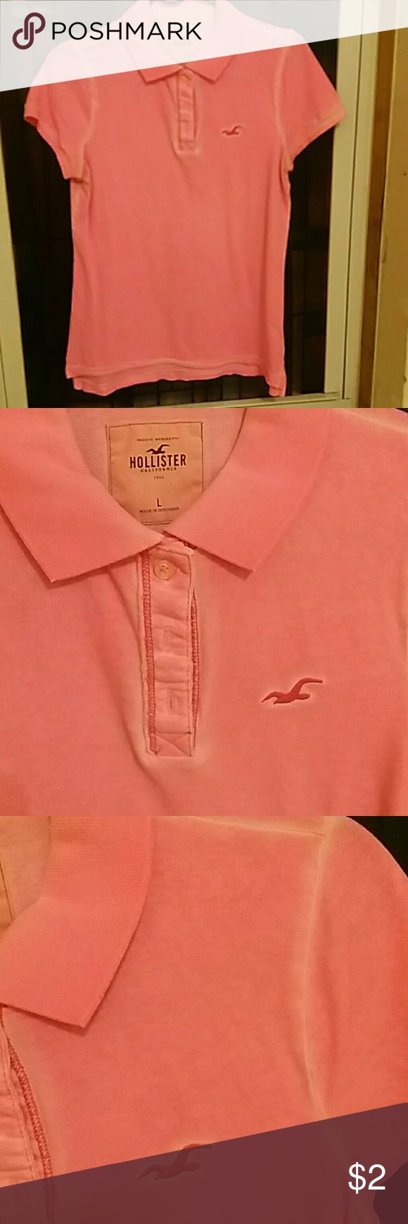 Hot pink polo shirt short sleeve stretchy cotton Purposefully faded on edges and seems brand new condition Hollister Tops Tees - Short Sleeve