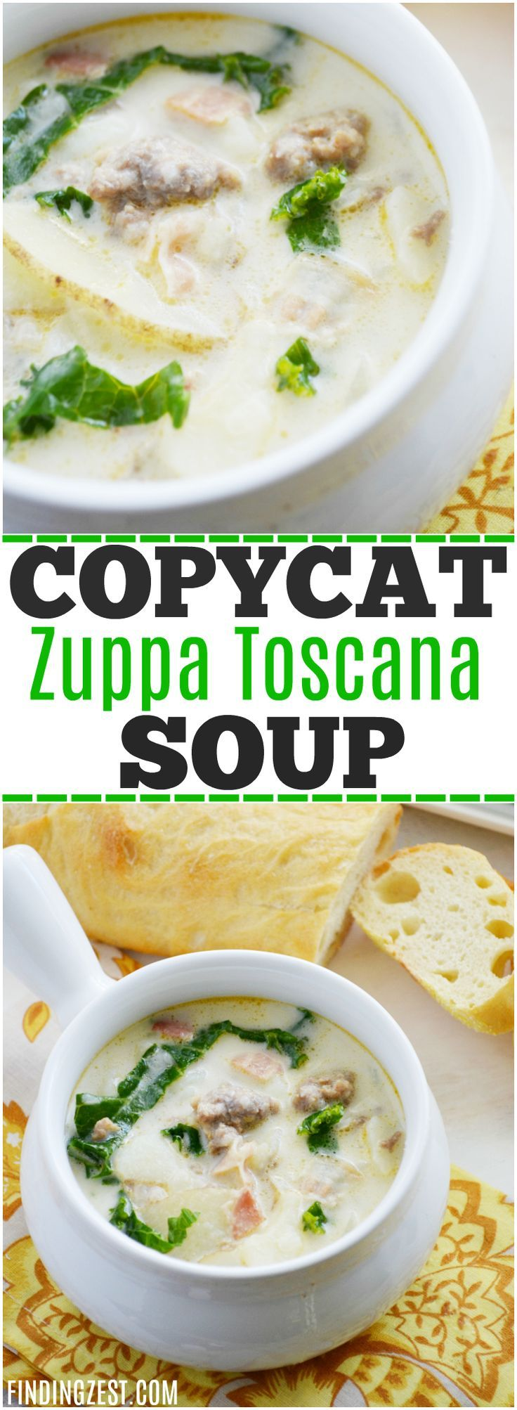 Get this easy Copycat Zuppa Toscana Soup recipe from Olive Garden™️ so you can enjoy the wonderful flavors of this sausage and potato soup at home! You won't believe how simple it is to make a zuppa toscana copycat yourself. This soup makes a great weeknight dinner your whole family will love! #copycatrecipe #soup #souprecipes #dinnerrecipes #dinner