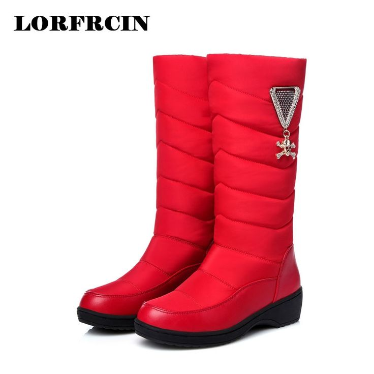 43.99$  Watch now - Boots Women Winter 2017 Woman Boots Mid-calf Wedges Shoes Waterproof Warm Snow Boots  Slip-on Botas Mujer   #buyonlinewebsite