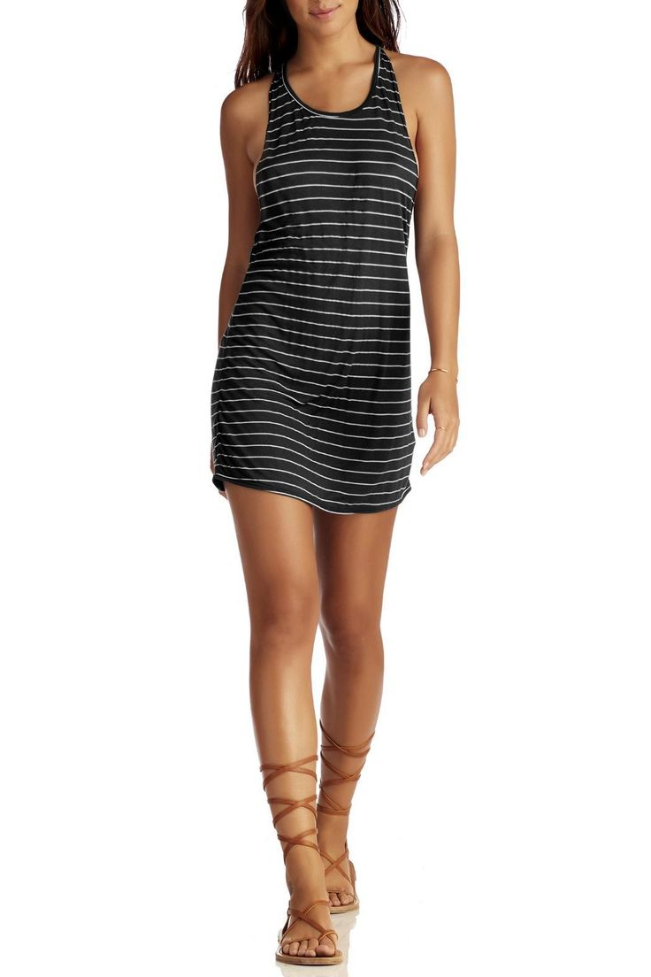 "Easy tank dress you'll basically wear everywhere. Clean stripes and a plunging back with sexy strap detail. Throw it over a bikini or pair it with a little lace-up sandal. One way ticket.  A super luxe light black and Crème  luxe jersey stripe made from a viscose/silk blend.    Model is wearing size XS. Model's height 5'8"" bust 33"" waist 24"" hips 35"".      Day Tripper Tank by Vitamin A. Clothing - Swimwear - Cover Ups Minnesota"