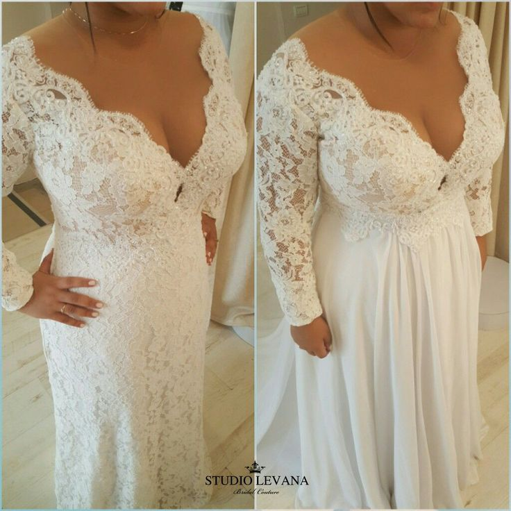 Plus size full lace long sleeves wedding dress Reut is super flattering! This 2 in 1 look gives you 2 different dresses for the ceremony and the dancing part!