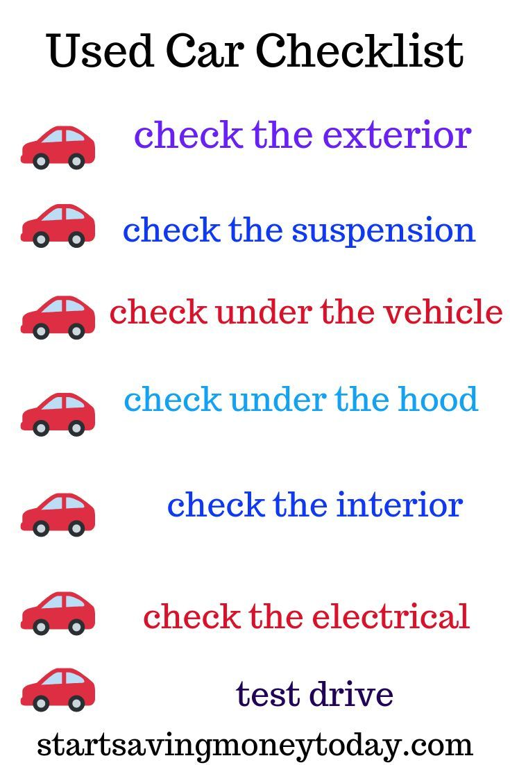 Used Car Inspection What To Look For Car Checklist Used Cars