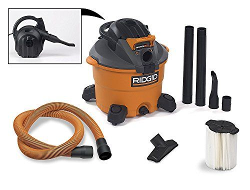 RIDGID Wet Dry Vacuums VAC1200 Heavy Duty Wet Dry Vacuum Cleaner and Blower Vac, 12-Gallon, 5.0 Peak Horsepower Detachable Leaf Blower Vacuum Cleaner with Pro-Grade Hose