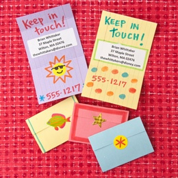 Great idea for kids to keep in touch with friends over the summer: from Family Fun: Business Cards, For Kids, Crafts Art, Buddy Business, Projects Ideas, Great Ideas, Cards Crafts, Art Projects, Schools Crafts