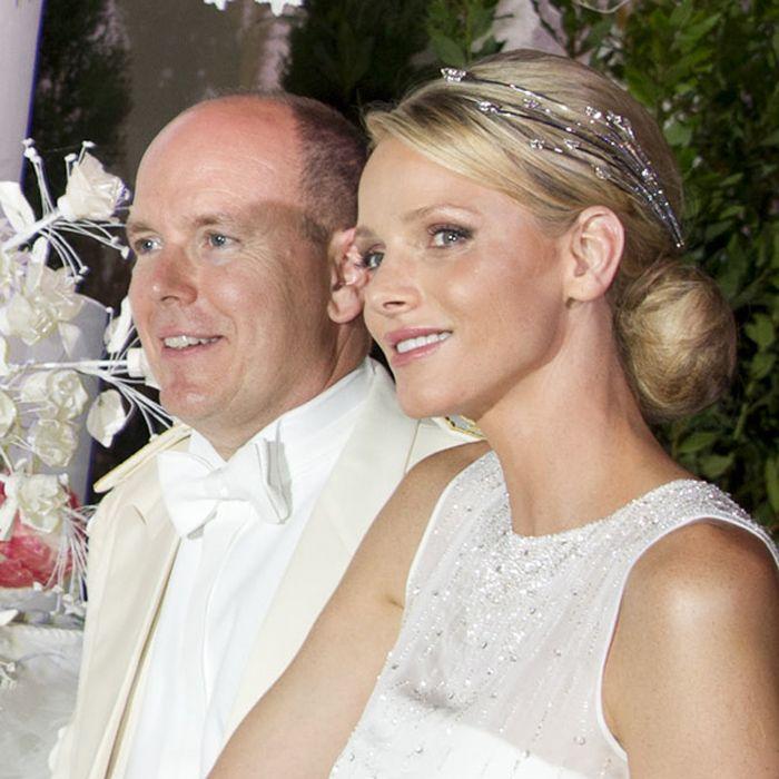 Princess Charlene chose a diamond tiara designed by Paris-based jeweller Lorenz Bäumer for the evening ball on her wedding day.