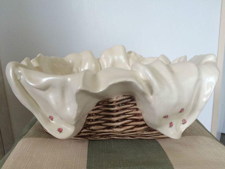 Serving Bowl Bread Basket Art Pottery Signed Figural Cloth Table Decor