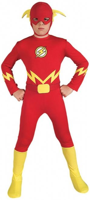 The Flash Kids Jumpsuit - This is a licensed Flash costume. He is from DC Comics The Justice League. This two-piece costume comes with a jumpsuit with boot tops and a mask. The suit opens up from the back of the neck and ties up to fasten close. There is also an attached sash that ties up in the back to cinch the waist. #flash #superhero #children #yyc #calgary #costume
