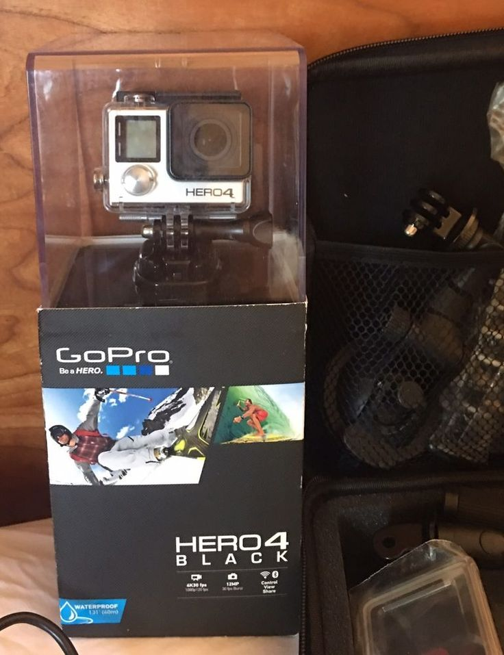 GoPro Hero 4 Black with Accessories-Extra Battery Head ,chest,curved Mounts+more #GoPro