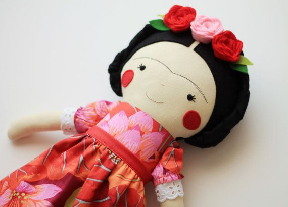 Frida Kahlo handmade doll. Rag doll to decorate and collect. Frida Kahlo art doll. Collectible art doll.