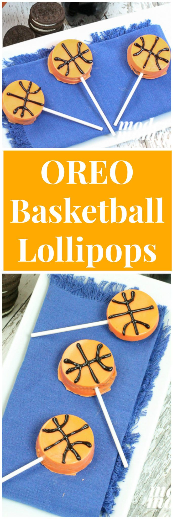 OREO Basketball Lollipops Are What Sweet Dreams are Made Of. This easy dessert is so delicious. Perfect for basketball party menu items. ad via @amodernmomlife