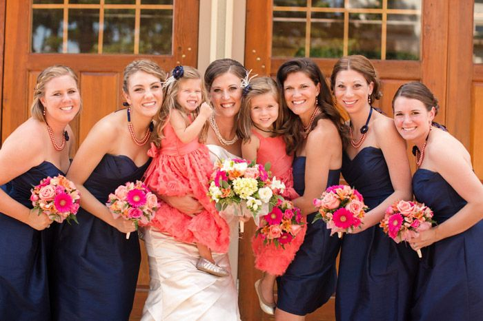 blue & coral wedding party // Katelyn James Photography