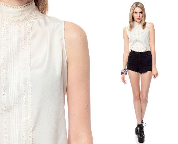 White Lace High Neck Blouse 90