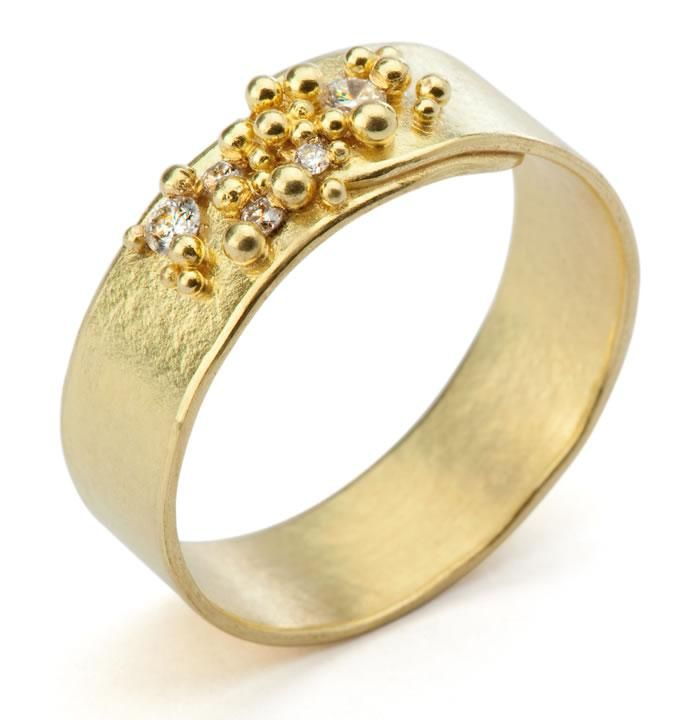 hannah bedford - gold and diamond granulated ring