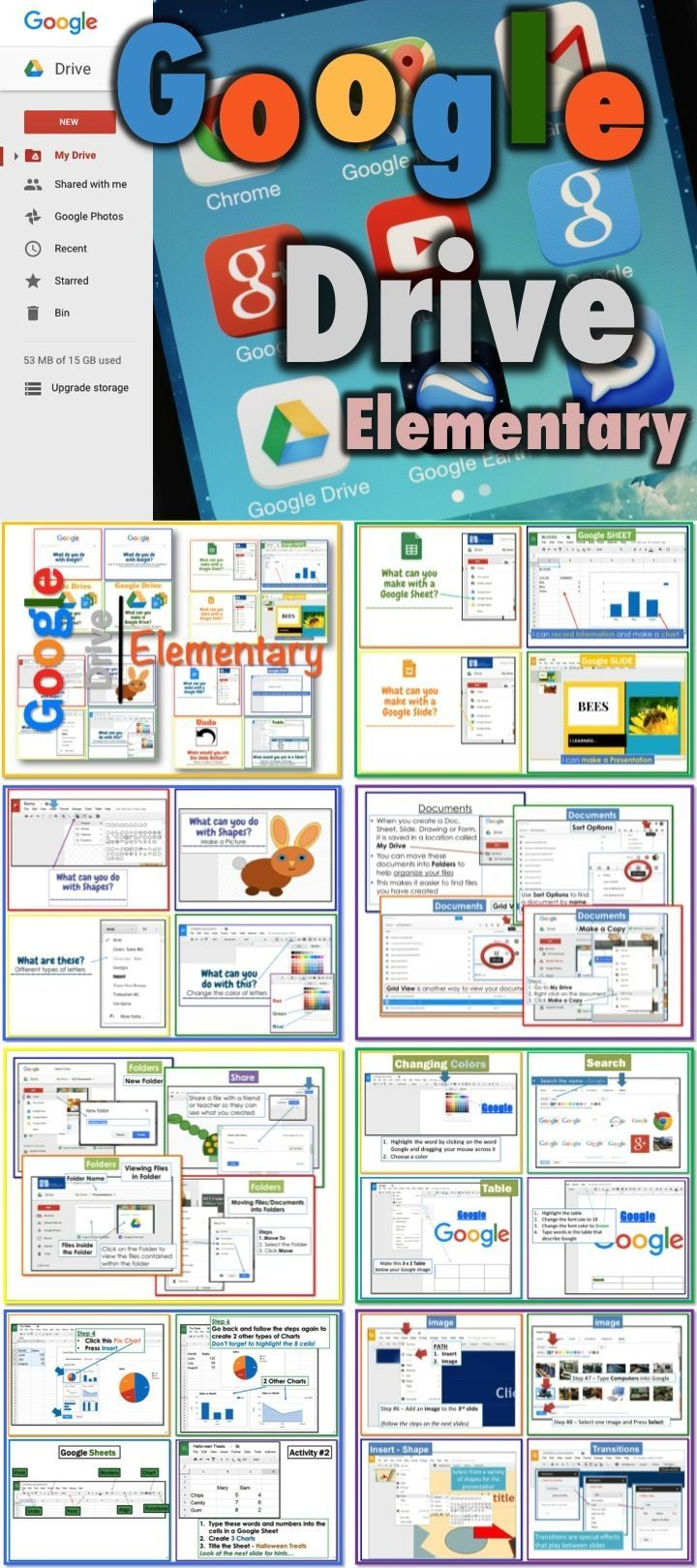 This bundle includes the following lessons/activities... 1. Google Drive for Elementary Students 2. DOCS 3. SHEETS 4. SLIDES 5. DRAWINGS 6. Files, Folders and Sharing Lesson