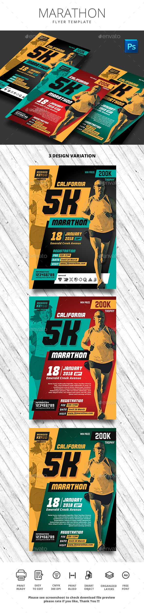 Marathon Flyer by monggokerso Marathon Flyer File Features : Size A4 210x290mm   Bleed area CMYK / 300 dpi Easy to edit text Well organized PSD file 3 Alternati