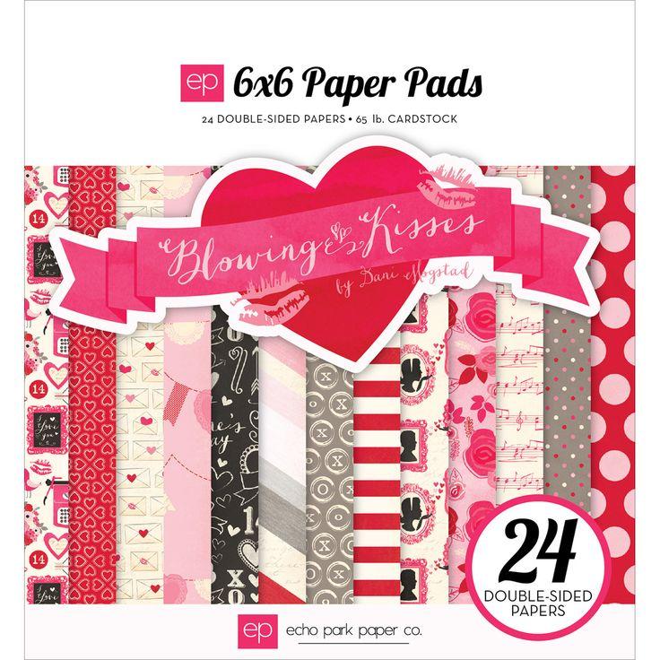 """Echo Park Double-Sided Paper Pad 6""""""""X6"""""""" 24/Pkg-Blowing Kisses"""