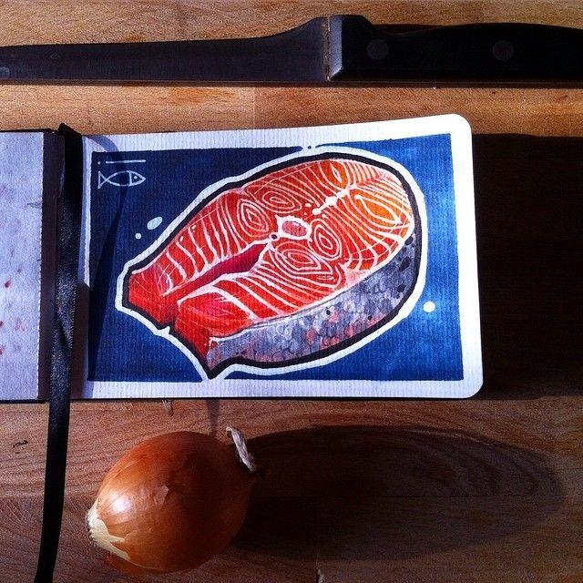 Не забывайте про обед! Всем хорошего дня и приятного аппетита) #ta #tattoo #tattooartist #tattoogaruda #ta2 #тату #татуировка #татунск #татуировканск #tattooed #tattoorussia #art #sketch  #сибирь #blues #graphic #copic #sketchbook #flash #steak #salmon #food #instafood #лосось #стейклосося #insta_food by alexandrtolstykh