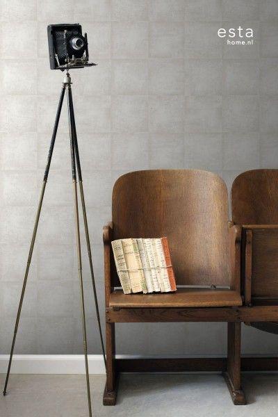 HD vliesbehang beton wit - Vintage Rules! - collecties | ESTAhome.nl
