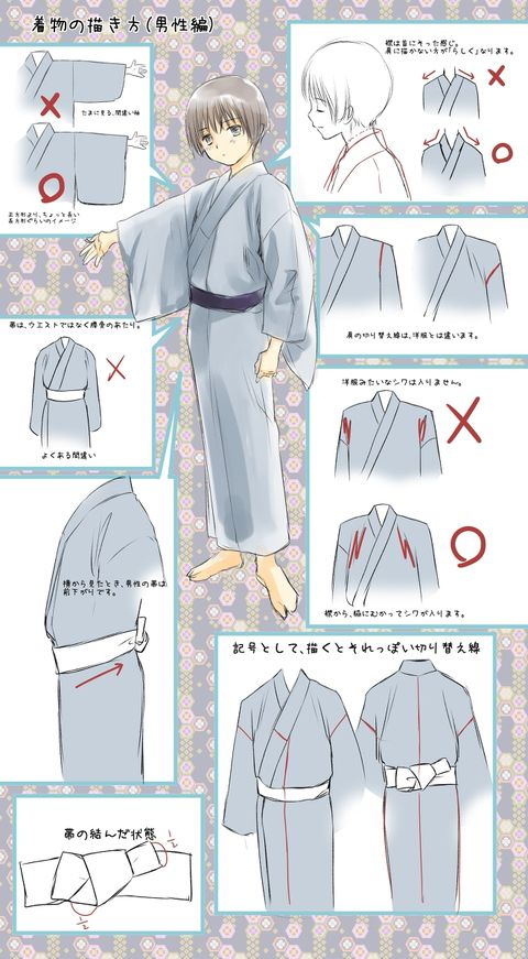 Here are some tutorials about how to draw male Japanese clothing. They're different from female clothing, from the placement of the obi, to the collar. By depicting the proper creases, you can create believable male Japanese clothing! With the previous Spotlight about Japanese clothes, this one is great to combo with!