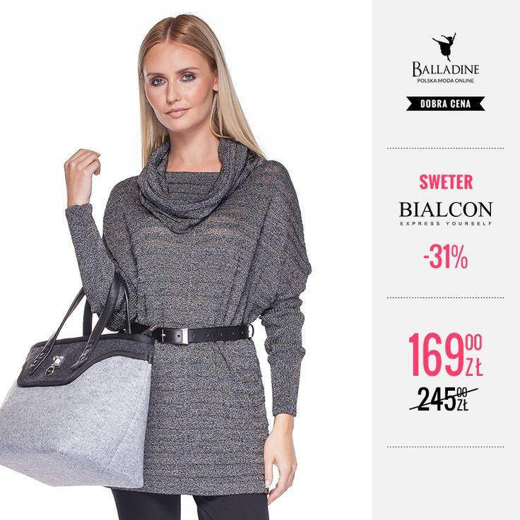 Sezon na swetry oficjalnie rozpoczęty! Ten piękny, srebrny sweter z golfem dostaniecie teraz w bardzo okazyjnej cenie!  Sweter Bialcon | http://goo.gl/CosxVt