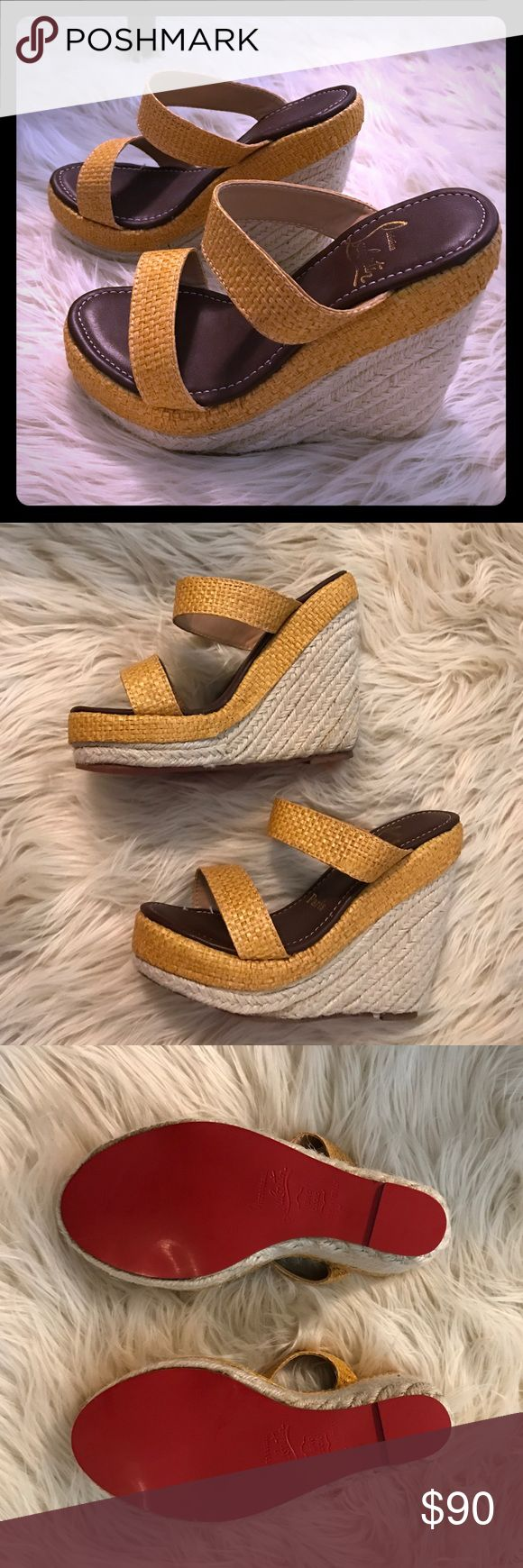 Red bottom Yellow espadrille wedges Never worn Red bottom Made in Paris Yellow espadrille wedges. Received these as a gift. Shoes Wedges