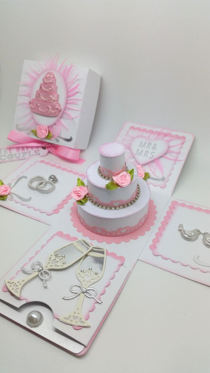 Wedding Cake - Exploding Box Card - pink/silver #Pink #Wedding #PinkWedding #Paper