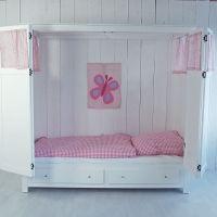 Kojenbett / Kajütenbett BOX mit Stauraum und Vorhang-Set, 90x200cm