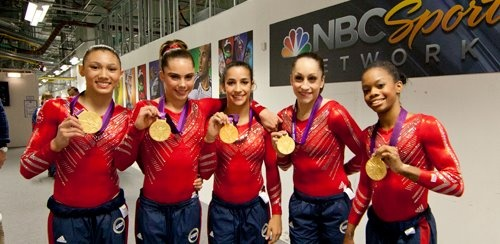 "The ""Fab Five"": for the first time since 1996, the U.S. wins Olympic gold in women's team gymnastics  Pictured (from left to right): Kyla Ross, McKayla Maroney, Alexandra Raisman, Jordyn Wieber, Gabrielle Douglas  (Photo: Anthony Quintano / NBC News) #NBCOlympics"