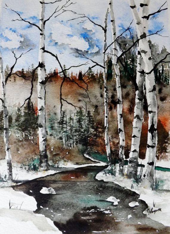 Original Aquarell MalereiWinter River Landschaft von pinetreeart