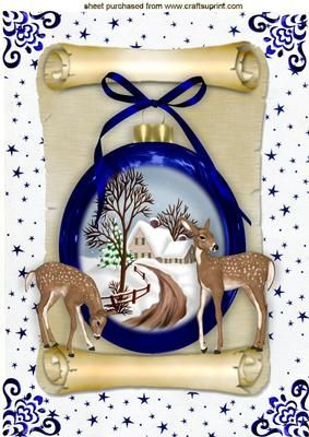 BEAUTIFUL CHRISTMAS SCENE IN A BAUBLE ON A SCROLL A4 on Craftsuprint designed by Nick Bowley - BEAUTIFUL CHRISTMAS SCENE IN A BAUBLE ON A SCROLL A4, With cute little deers this is a stunning christmas card, just sparkle it up  - Now available for download!