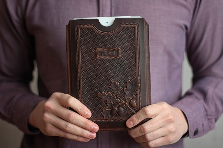 "iPad case ""The Brown Oak"". The material of product is the natural white leather. There is stamping image of oak on the front part. 29.59$ (isn't including shipping) #leathercase #tablet #ipad #handmade #russianhandmade #russian #russian_handmade #naturalleather #leather #cover #oak #brown #stamping"