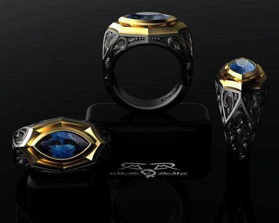 Zigarre Band Ring. 14 k Europäischen Gold von DeMerJewelry auf Etsy