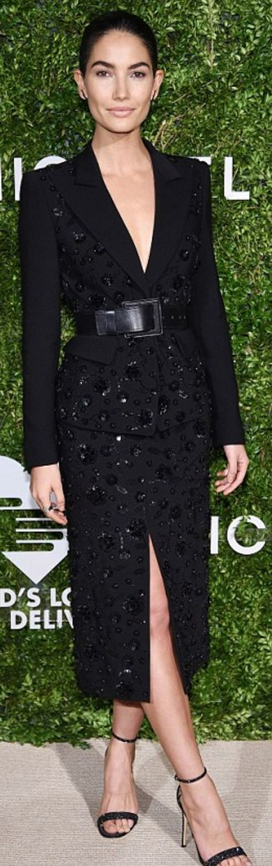 Lily Alridge: Jacket, belt, and skirt – Michael Kors Collection  Jewelry – Jennifer Fisher and Graziela Gems  Shoes – Gianvito Rossi