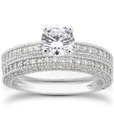 1.10CT Heirloom Milgained Diamond Engagement Wedding Ring Set 14K White Gold « Holiday Adds