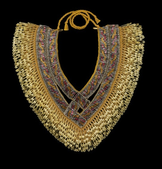 Necklace |  Tina Fung Holder.  Safety pins, bugle beads, seed beads, cotton yarn, lacquer, nickel and brass
