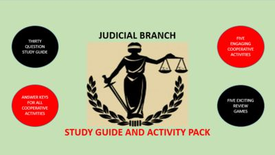 Judicial+Branch:+Study+Guide+and+Activity+Pack+from+BHulman+on+TeachersNotebook.com+-++(89+pages)++-+Judicial+Branch+Study+Guide+and+Activity+Pack.++Includes+a+thirty+question+study+guide,+five+authentically+interdependent+cooperative+group+activities+and+five+exciting+review+games.