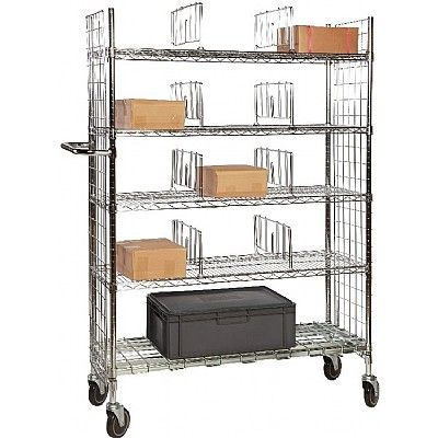 Chrome Wire Order Picking Trolley - 5 tier with shelf dividers I Shelving Ideas