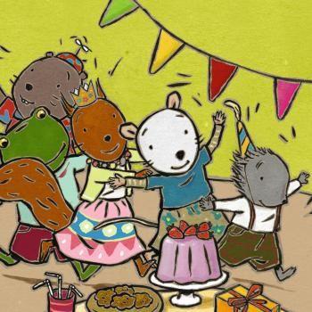 (2014-08) Nellie, Cezar, Mina, Fred og Leo holder fest