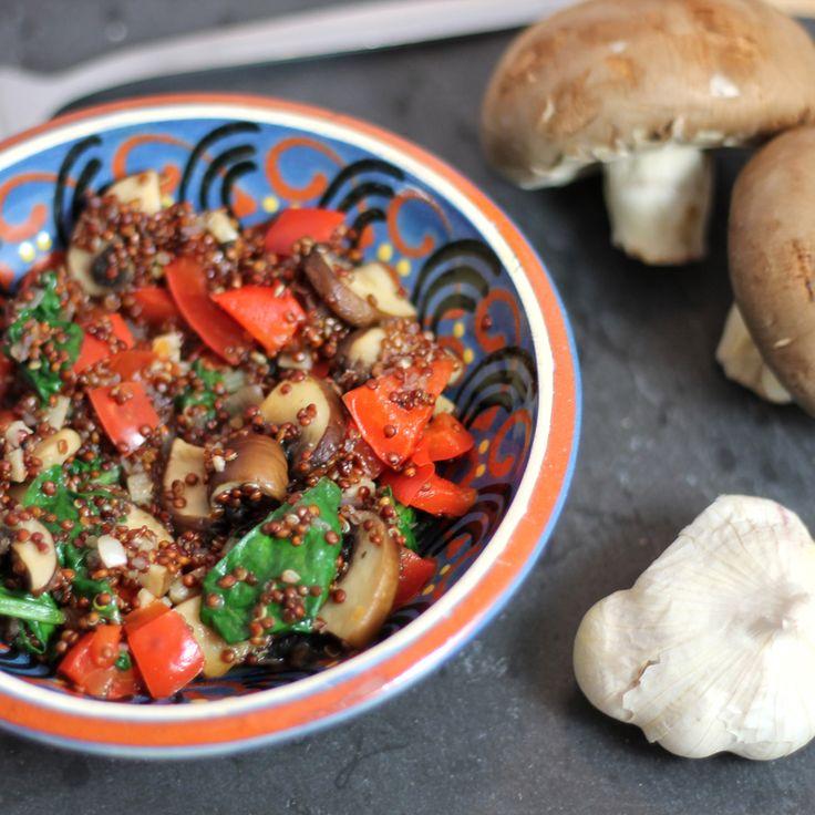 Quinoasalade met champignons en spinazie ♥ Foodness - good food, top products, great health